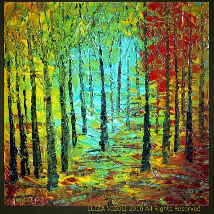 Original Modern Abstract Palette Knife Impasto Trees Landscape Oil Painting on