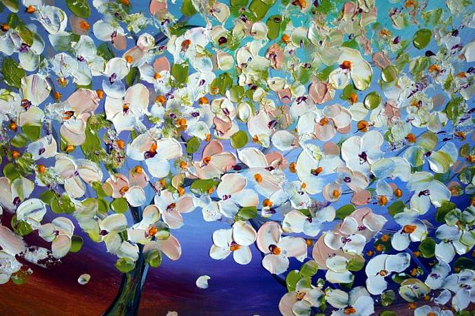 Original Modern Abstract Palette Knife Flowers Tree Landscape Painting on