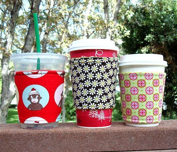 Blend me a Drink -- Fabric Coffee Cozy / Cup Sleeve