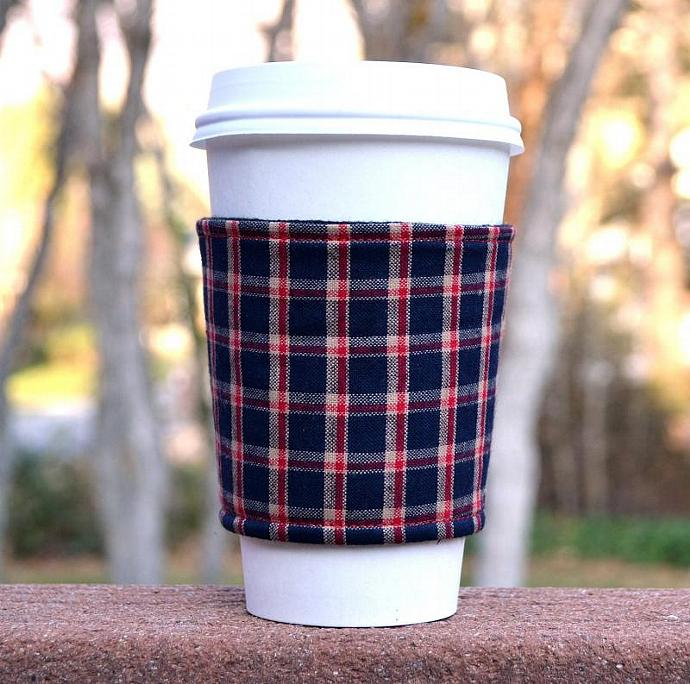 MANLY Coffee Cozy / Cup Sleeve-- red white and blue plaid