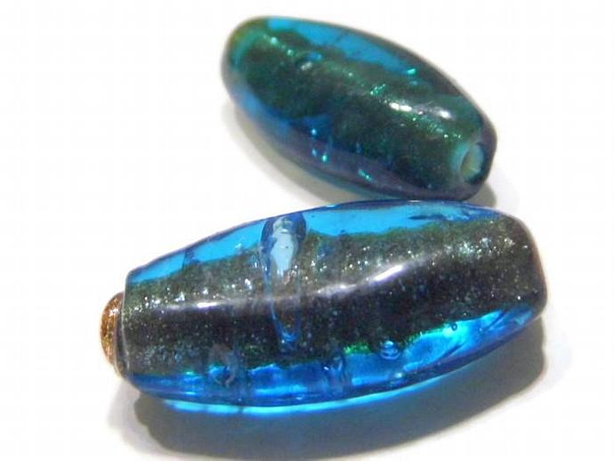 2 Flat Oval Blue Sparkly Lampwork Beads