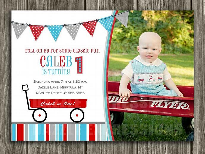 Red Wagon Birthday Invitation - FREE thank you card included