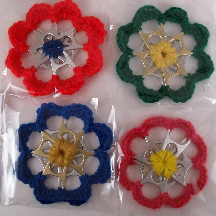 Can Tab Recycled Flower Ornament grab bag set of 6