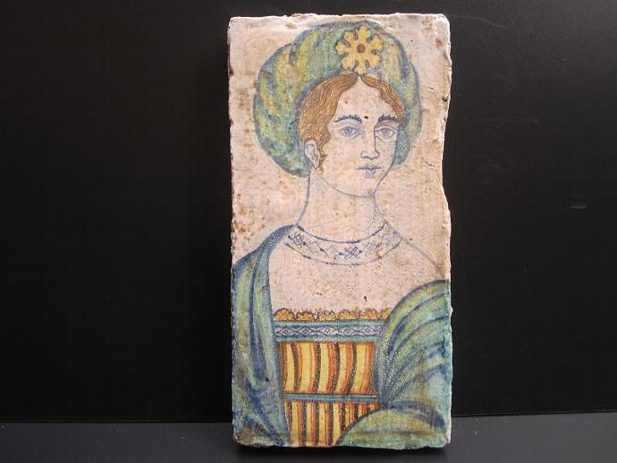 Vintage Deruta Pottery Tile of Renaissance Woman