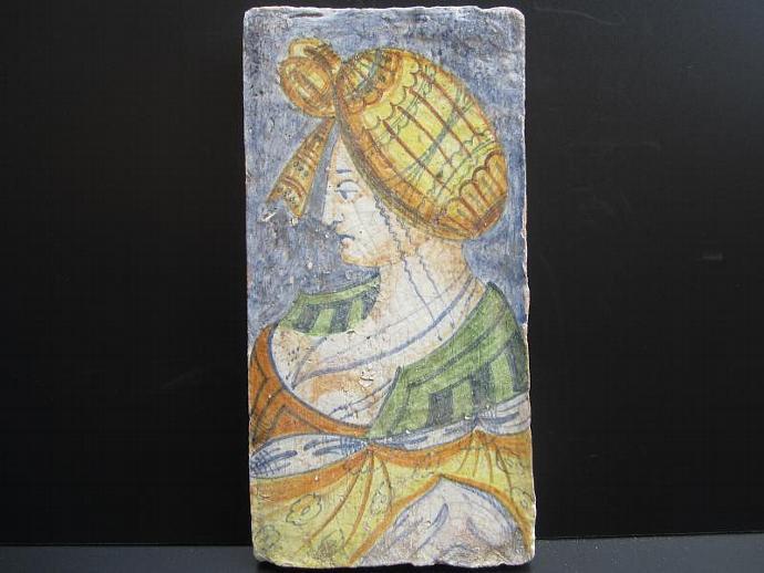 Vintage Deruta Pottery Tile of Renaissance Woman