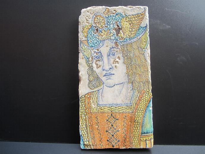 Vintage Deruta Pottery Tile of Renaissance Man