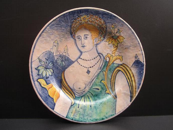 Vintage Deruta Pottery Plate of Renaissance Woman