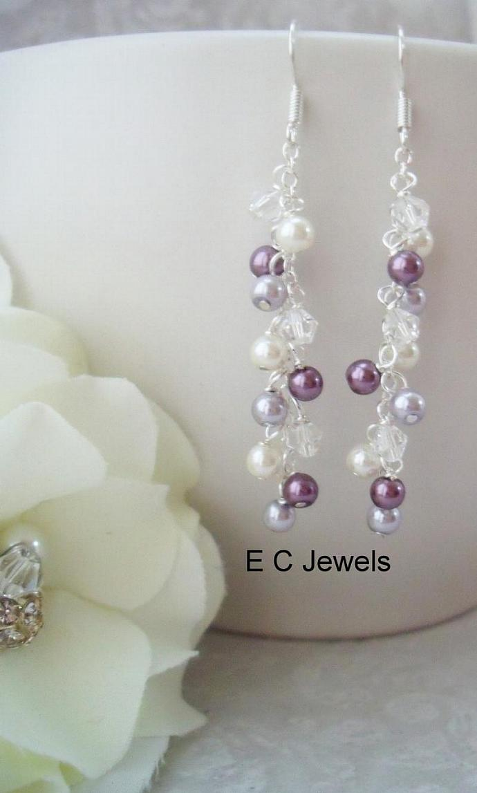 Long and Slim Pearl and Crystal Drops for your Bridesmaids - you pick your