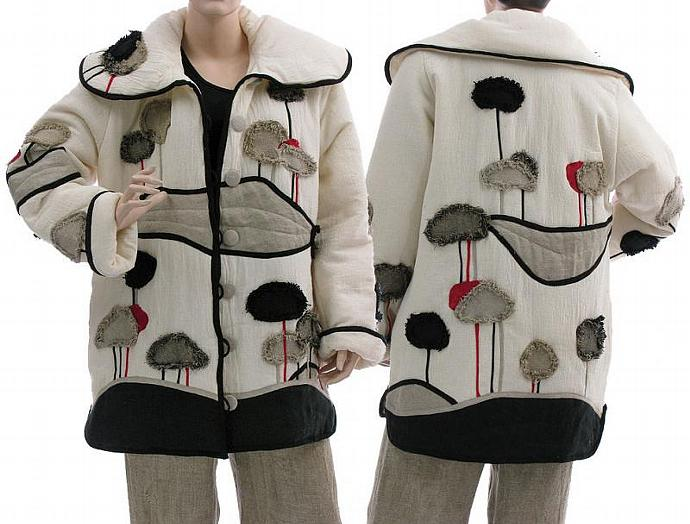 Handmade artsy boho cotton jacket in off white with landscape appliqués / for