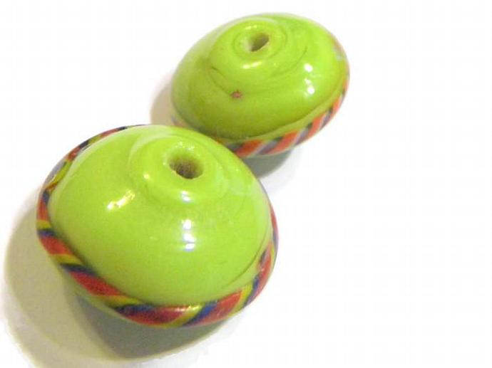 2 Rondelle Green Lampwork Beads with Red black and yellow stripe