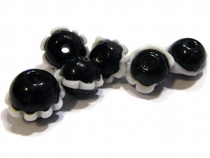 6 Round Black Lampwork Beads with a White Ruffle Around the Middle