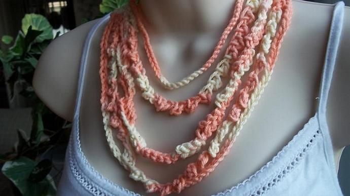Necklace, Crocheted (5-Stranded, In Shades of Peach and White)