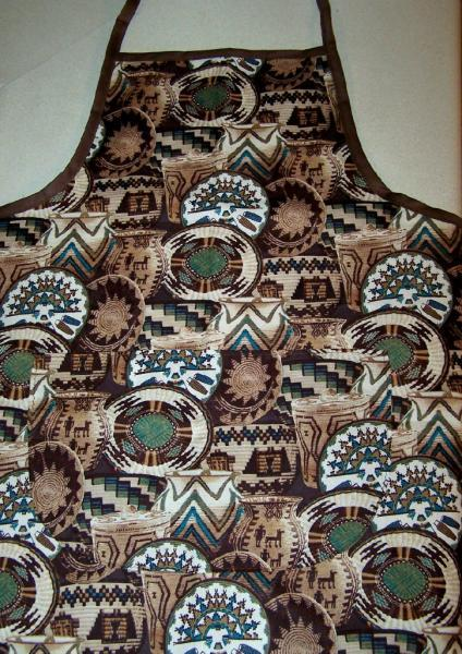 Adult's apron, Southwest Baskets cotton fabric apron, bib apron, baskets,