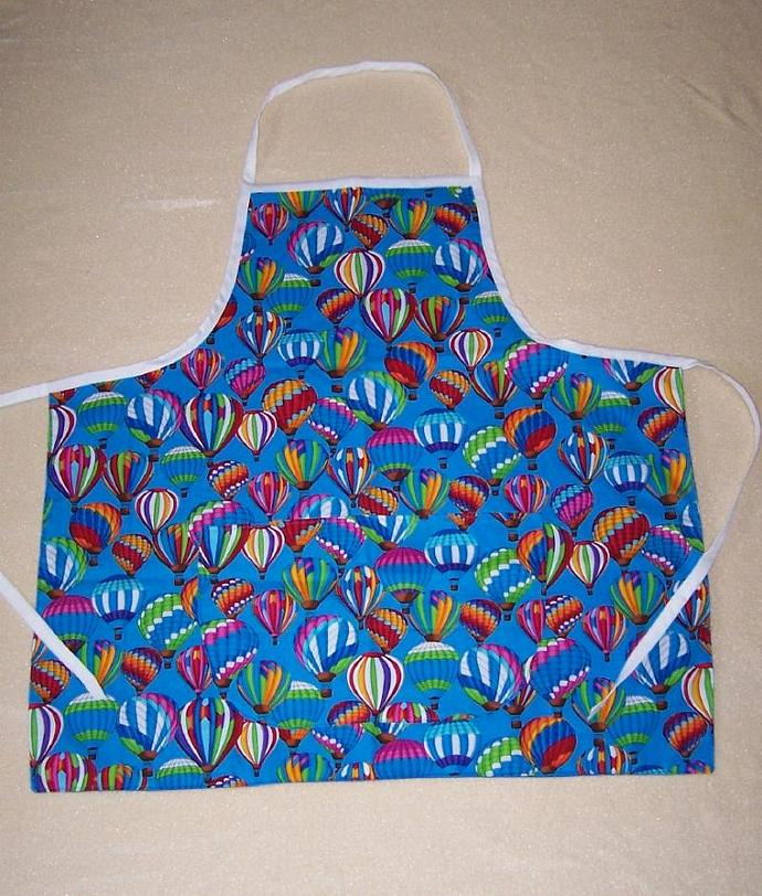 Adult's apron, Hot Air Balloons cotton fabric apron, bib apron, hot air