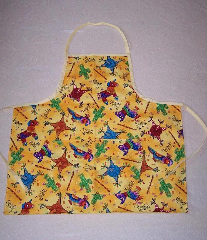 Adult apron, Fiesta cotton fabric apron, bib apron, woman's apron, kitchen
