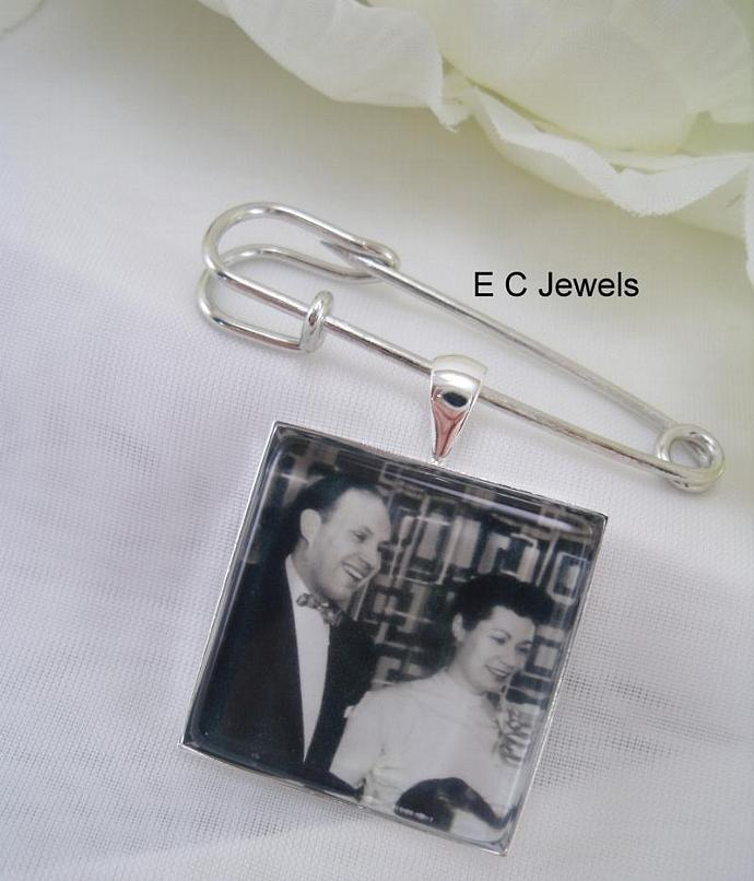 Grooms Boutonniere Custom Photo Charm
