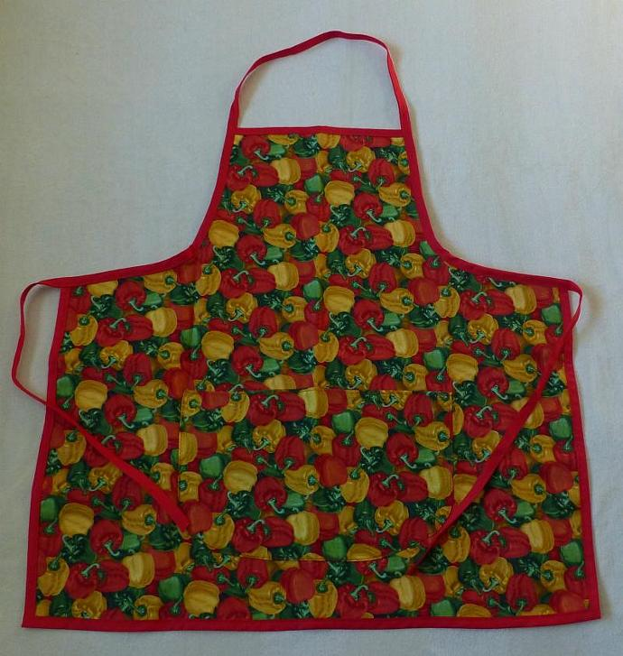 Adult apron, bib apron, peppers cotton fabric, gift for women, gift for cooks,