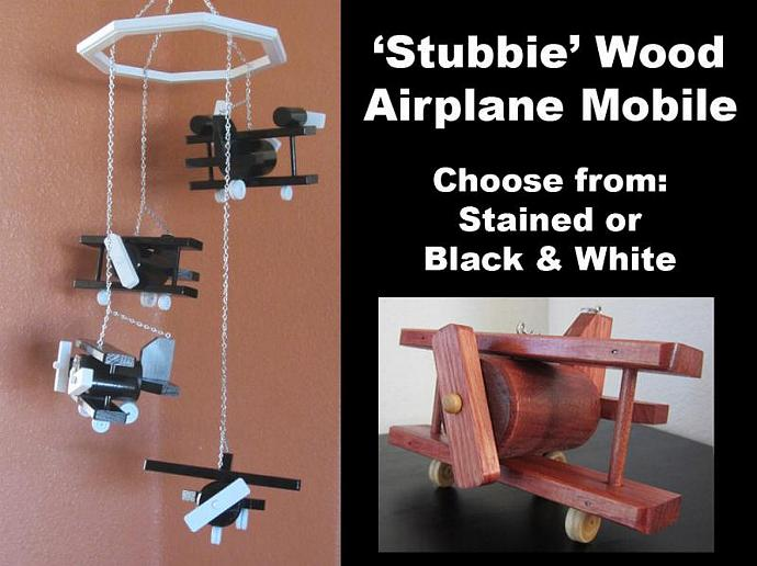 Wood 'Stubbie' Airplane Mobile with 4 Different Planes available in 4 different