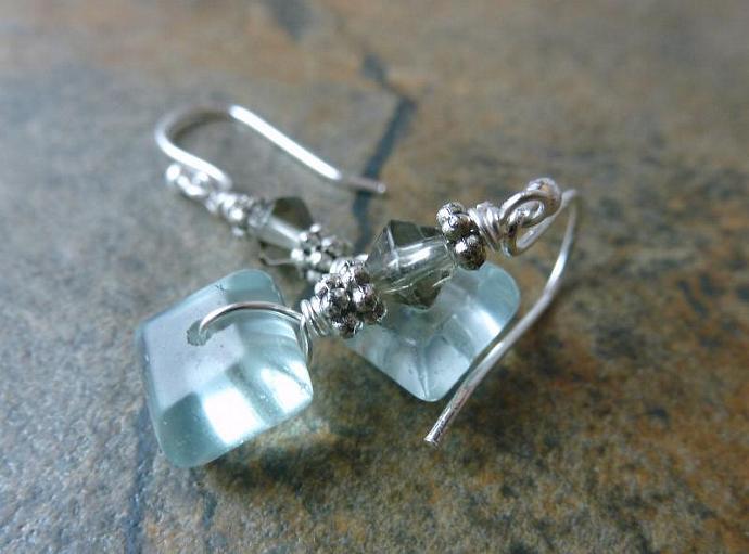 Ice Blue Quartz Earrings