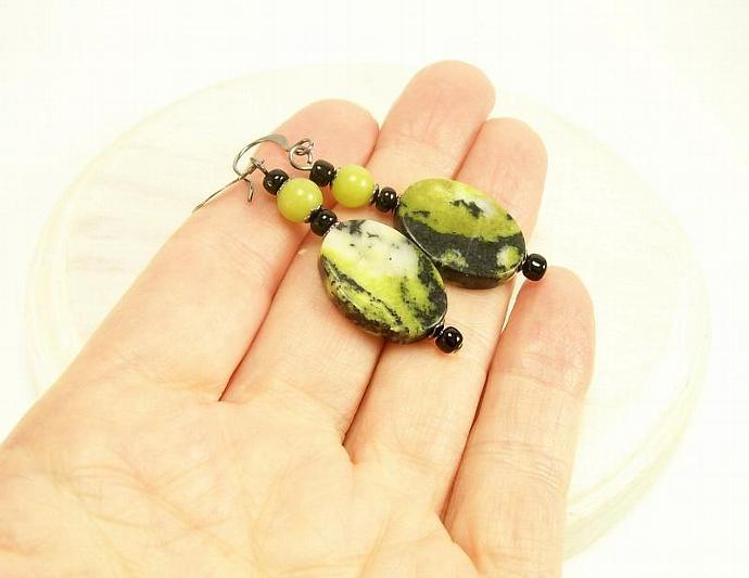 Serpentine Gemstone Dangle Beaded Earrings, Green & Black Earrings, Gemstone