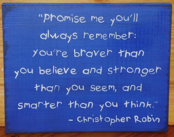Primitive Winnie the Pooh Sign Promise Me Christopher Robin Nursery Baby Shower