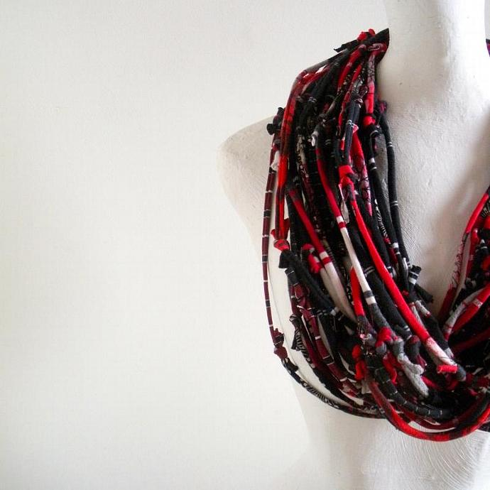 Red and Black Scarf Knotty Bits Warm Winter Art Cowl