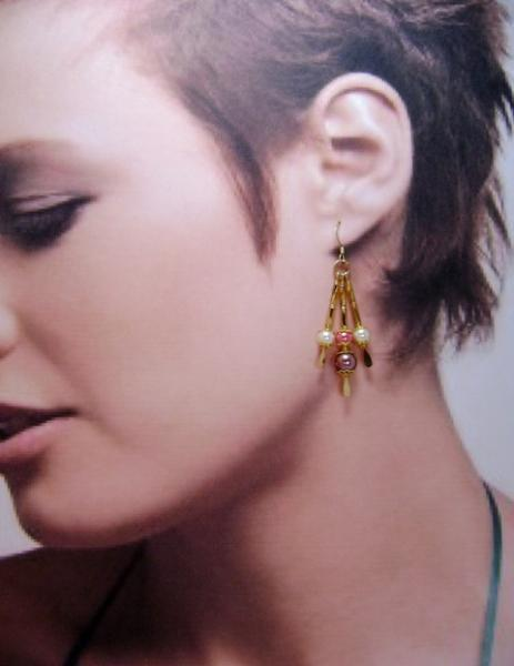 Tri-Color Triple Drop Dangle Earrings, Ivory, Coral & Brown on Gold