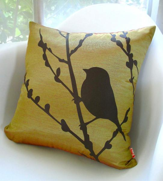 Yellow Olive Green Bird on Cherry Blossom 16 inches Square Pillow READY TO SHIP