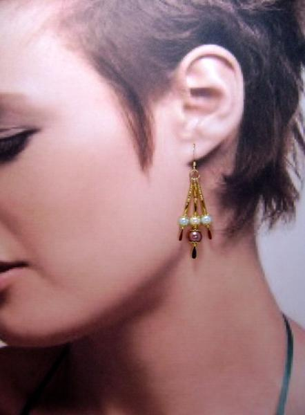 Earrings, Tri-Color Triple Drop Dangle Earrings, Aqua, Ivory & Brown on Gold