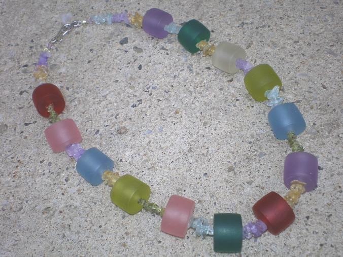 Resin rainbow necklace