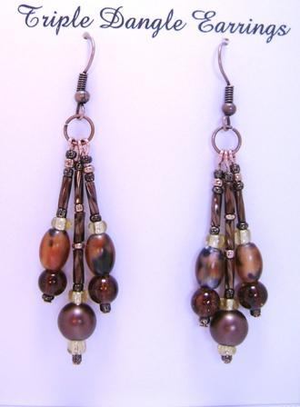 Earrings, Triple Drop Dangle Earrings, Brown Calico, Dark Amber & Brown on