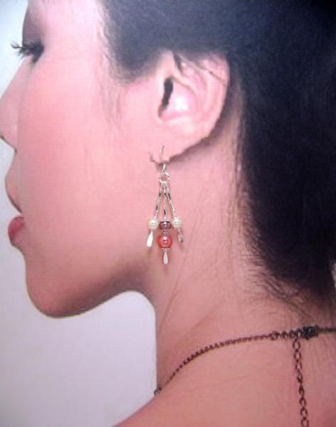 Earrings, Tri-Color Triple Drop Dangle Earrings, Ivory, Brown & Coral on Silver
