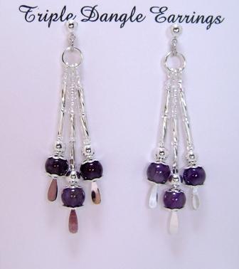 Earrings, Triple Drop Dangle Earrings, Amethyst Gemstone and Silver Beads
