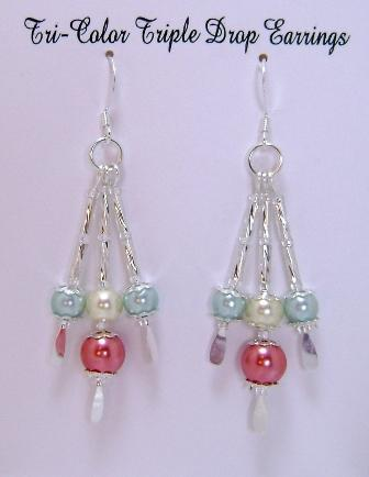 Earrings, Tri-Color Triple Drop Dangle Earrings, Aqua, Ivory & Coral on Silver