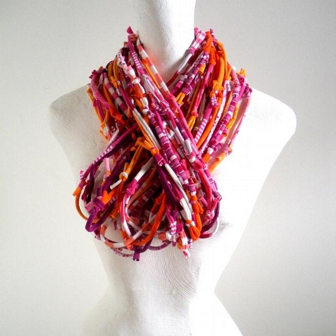 Vivacious Pink Koi Orange Infinity Scarf Pantone Fall Fashion Colors Upcycled