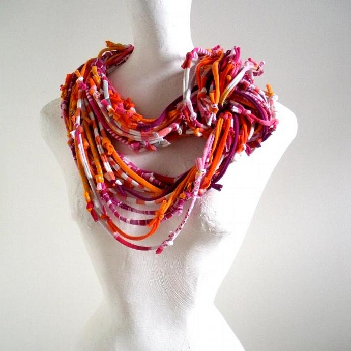 Vivacious Pink Koi Orange Infinity Scarf Pantone Fall Fashion Colors Upcycled