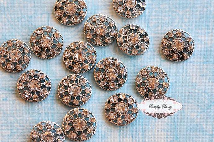 20pcs 18mm RD152 Clear Silver Rhinestone Embellishment Flatback Crystal flowers
