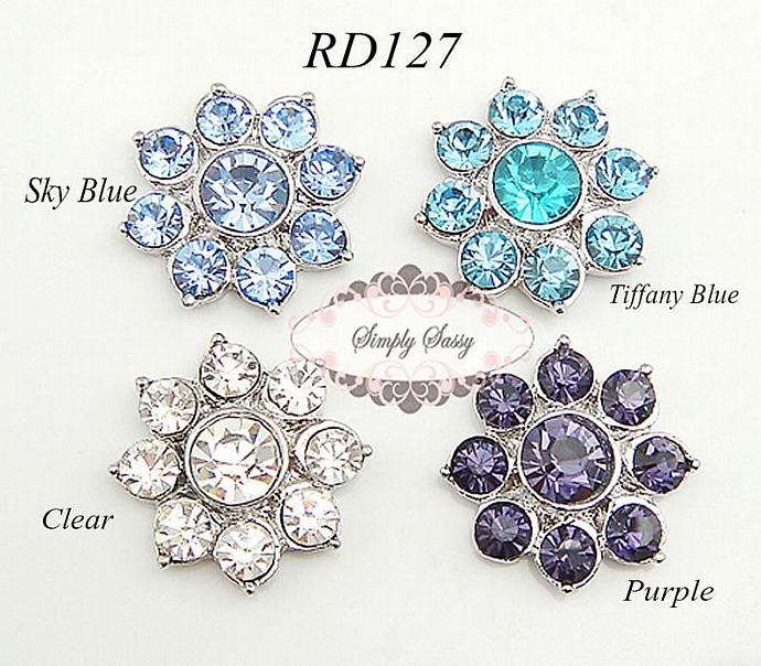 10 pcs RD127 Rhinestone Metal Flat Back Embellishment Buttons Wedding Bridal