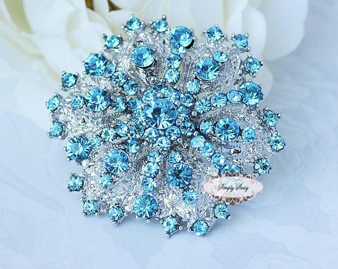 RD109 Gorgeous Tiffany Blue Rhinestone Metal Brooch Pin Wedding Bridal Brooch
