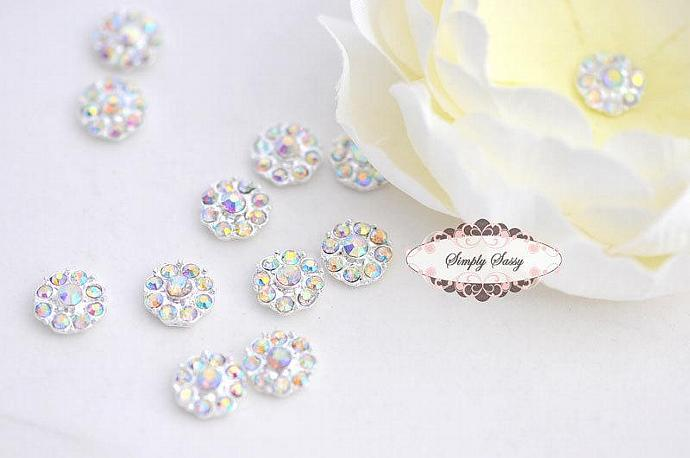 20pcs RD100 ClearAB on Silver 11mm Rhinestone Embellishment Flatback Crystal DIY