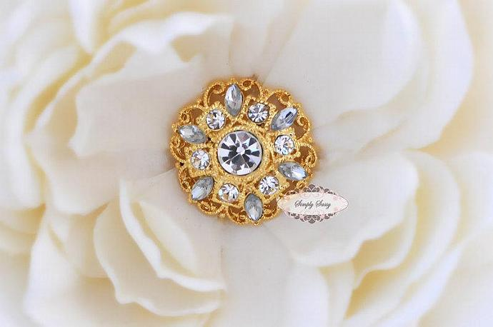 5pcs RD154 Clear Rhinestone Gold Metal Flat Back Embellishment Buttons flowers