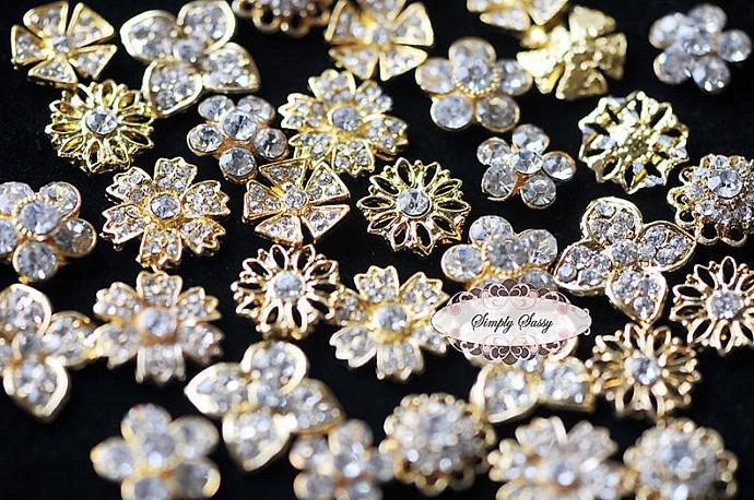 20pcs Assorted Dainty Rhinestone Crystal Metal Embellishment Buttons in GOLD