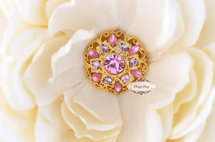 5 pcs RD154 Pink Rhinestone Gold Metal Flat Back Embellishment Buttons flowers