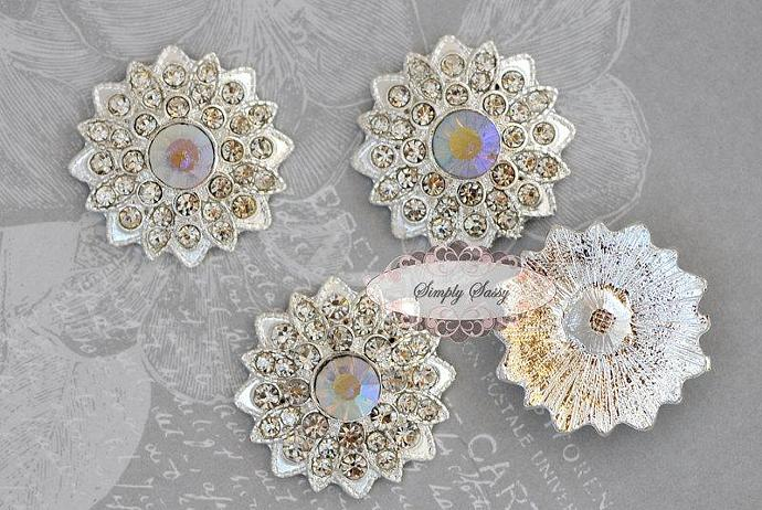 5 pcs RD183 Clear Rhinestone Metal Flat Back Embellishment Buttons flowers