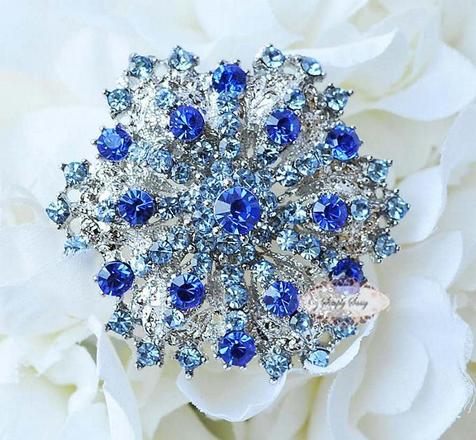 RD109 Gorgeous Sapphire Blue Rhinestone Metal Brooch Pin Wedding Bridal Brooch