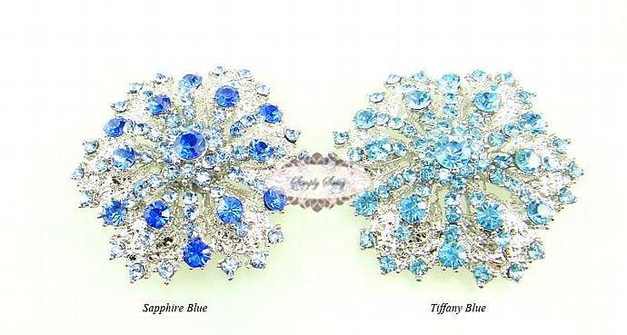 RD109 Gorgeous Sapphire Blue Rhinestone Metal Brooch Pin Wedding Bridal Brooch