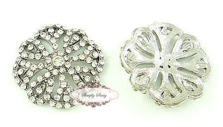 5pcs RD162 Rhinestone Crystal Metal Flatback Embellishment Button Brooches