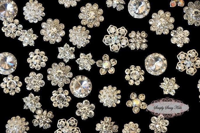20pc set CLEAR Assorted Dainty Flatback Rhinestone Embellishment Button Brooches
