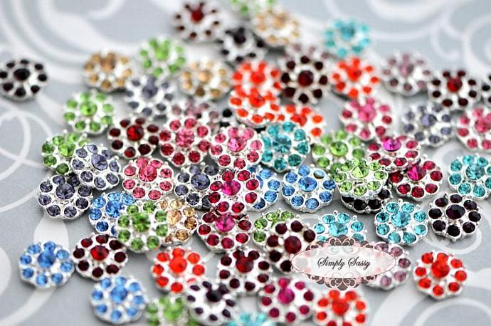 20 pcs RD100 ASSORTED Set on Silver 11mm Rhinestone Embellishment Flatback