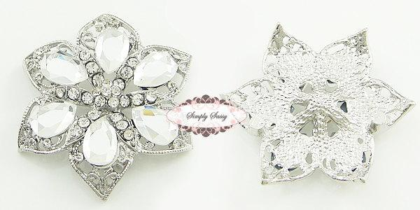 RD110 Rhinestone Metal Flatback Embellishment Button Brooch Great for wedding